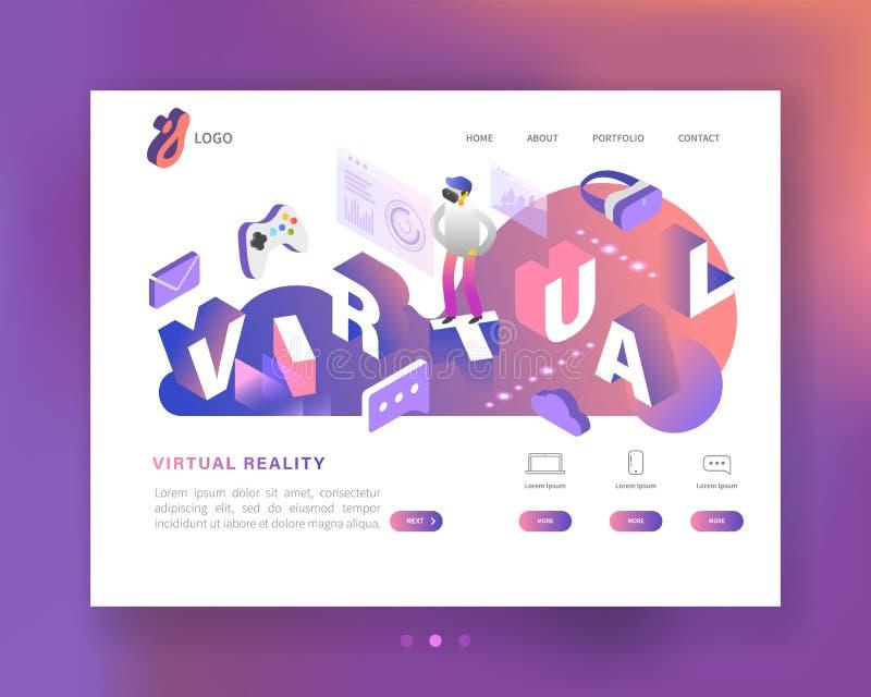 Isometrisches Konzept der virtuellen Realität Vergrößerte Wirklichkeits-Landungs-Seiten-Schablone mit Gläsern und Charakter Websi stock abbildung