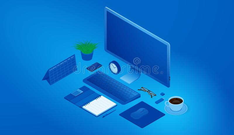 Isometrisches Konzept des Arbeitsplatzes Büroeinrichtung und Zusätze Hintergrund f?r eine Einladungskarte oder einen Gl?ckwunsch lizenzfreie abbildung