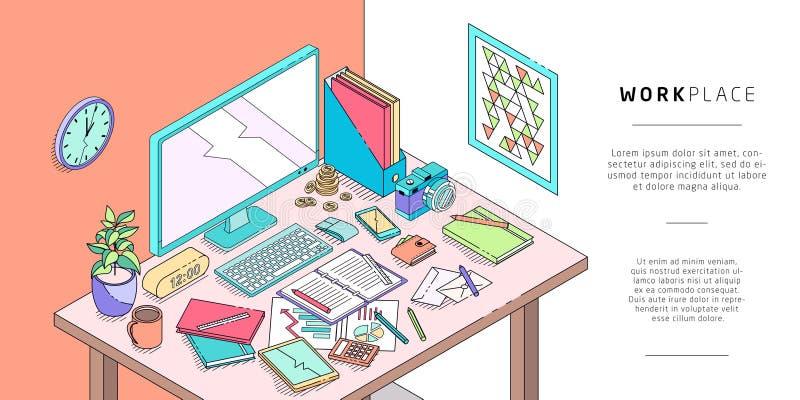 Isometrisches Konzept des Arbeitsplatzes mit Computer und Büro equipmen lizenzfreie abbildung