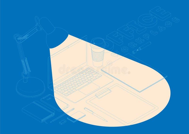Isometrisches Konzept des Arbeitsplatzes mit Computer und Büroeinrichtung Vektormodell stock abbildung