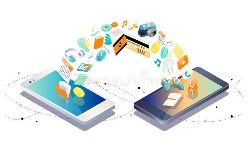 Isometrisches Konzept des Austausches zwischen Smartphones stock abbildung