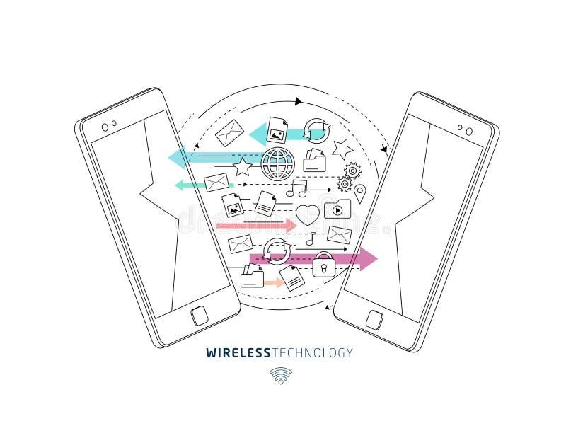 Isometrisches Konzept des Austausches zwischen Smartphones lizenzfreie abbildung