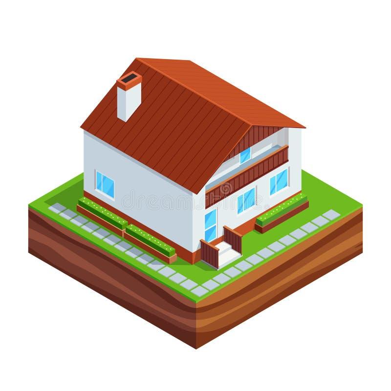 Isometrisches Konzept des Bauens eines Hauses vektor abbildung