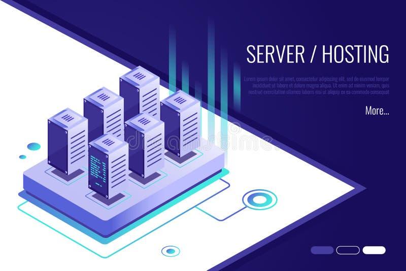 Isometrisches Konzept des Entwurfes der Landungsseite vorschlagend, um Server und die Bewirtung zu kaufen oder zu mieten lizenzfreie abbildung