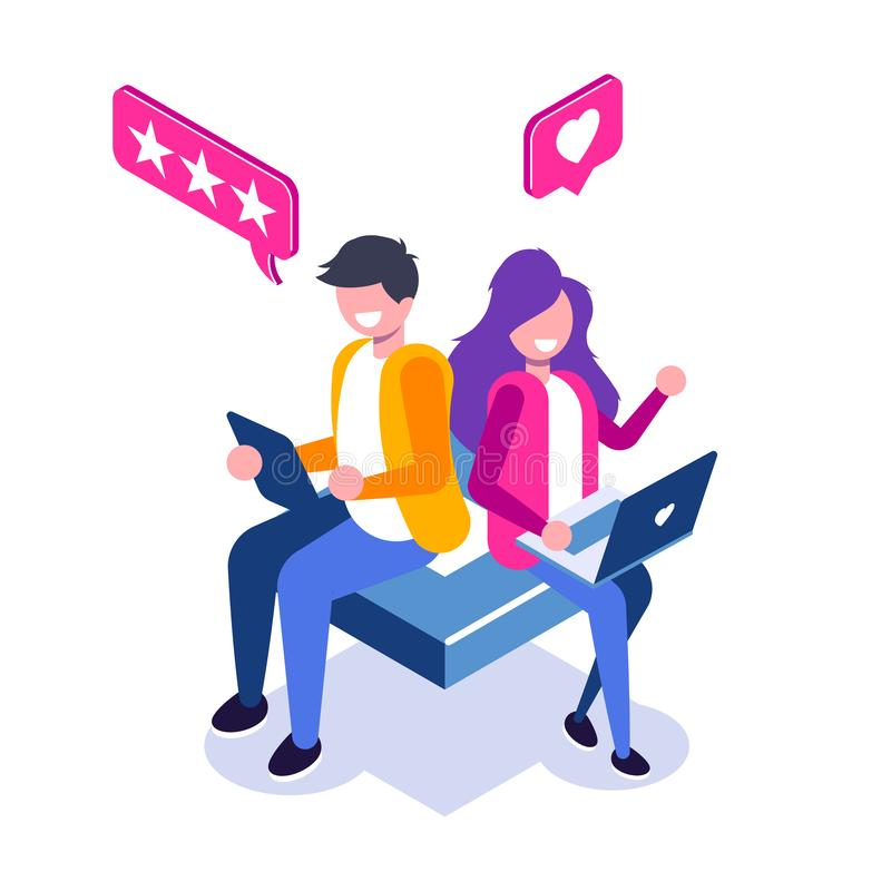Isometrisches Konzept des Kunden-Berichts Brauchbarkeits-Bewertung, Feedback, Bewertungssystem Mann und Frau lassen einen Bericht stock abbildung