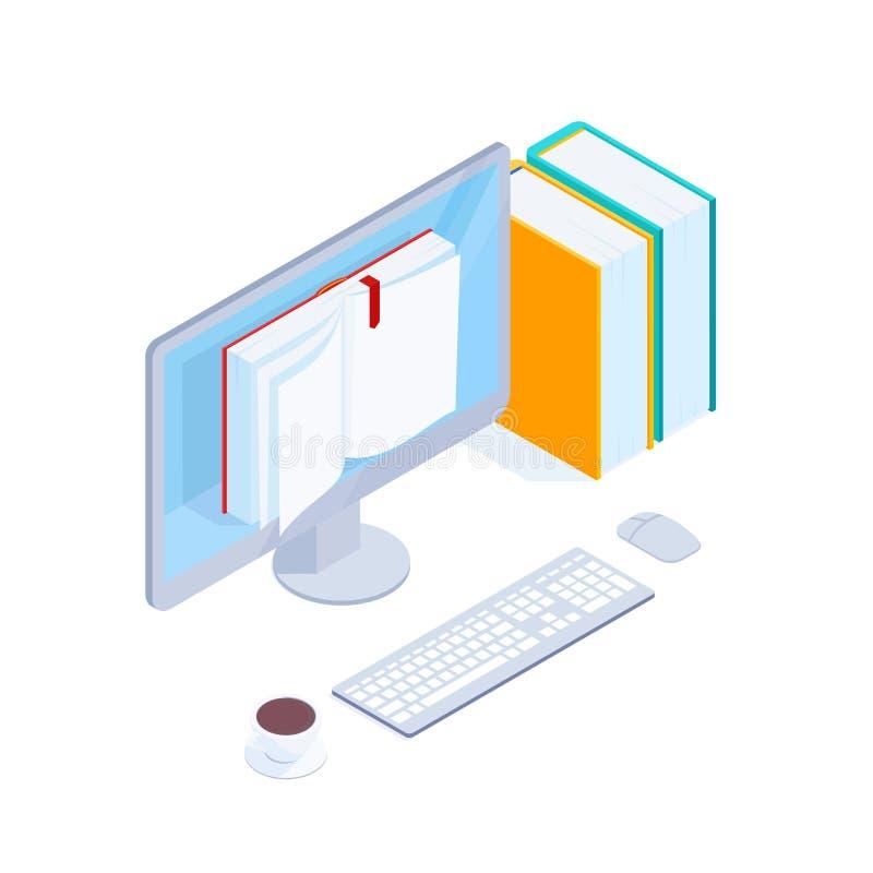 Isometrisches Konzept des on-line-Buches lizenzfreie abbildung