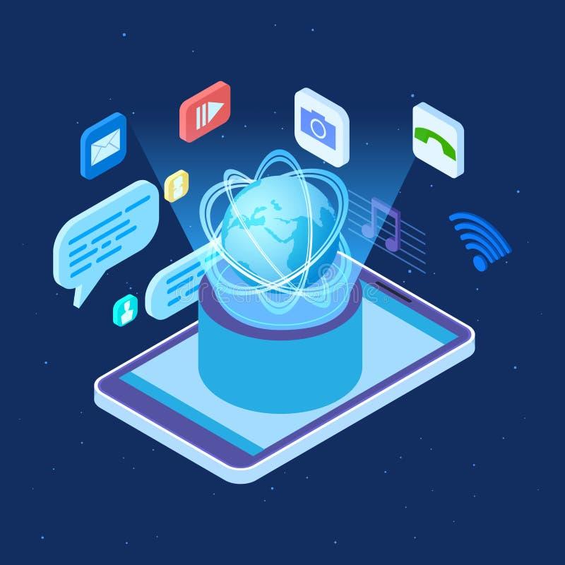 Isometrisches Konzept des weltweiten Vektors des Sozialen Netzes Globale Social Networking-Anwendungsillustration lizenzfreie abbildung