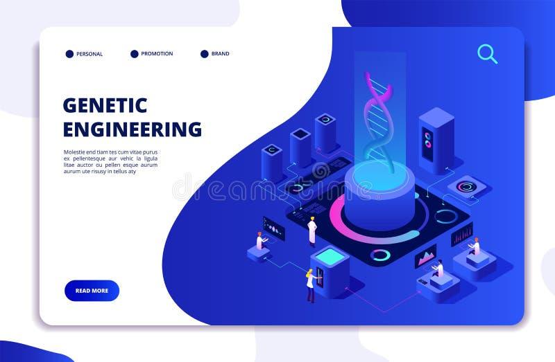 Isometrisches Konzept DNA GentechnikLabor mit Leutewissenschaftlern Doktoren, die Zellen erforschen DNA-Gentherapie stock abbildung