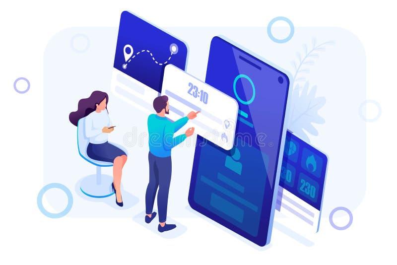 Isometrisches Konzept junge Leute arbeiten mit einem Eignungsarmband-Management App Titelkonzept Konzept f?r Webdesign vektor abbildung