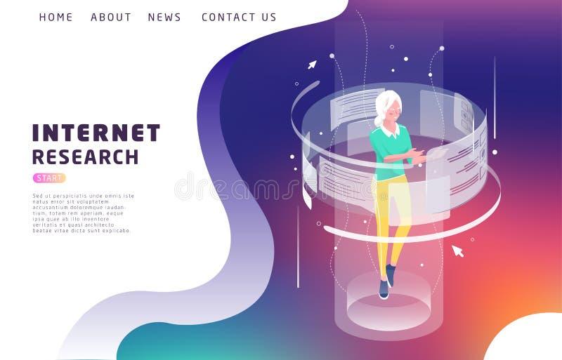 Isometrisches Konzept mit Frau und vergrößerter Wirklichkeit Internet-Forschung lizenzfreie abbildung