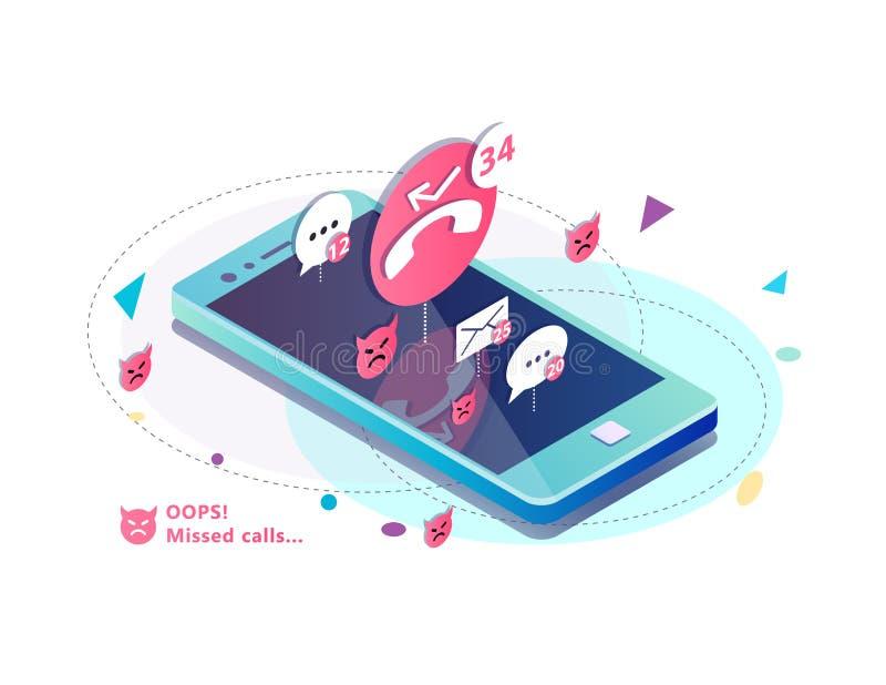 Isometrisches Konzept mit Handy, fehlende Anrufe, Ikonen von Mitteilungen sms und Postmitteilung lizenzfreie abbildung