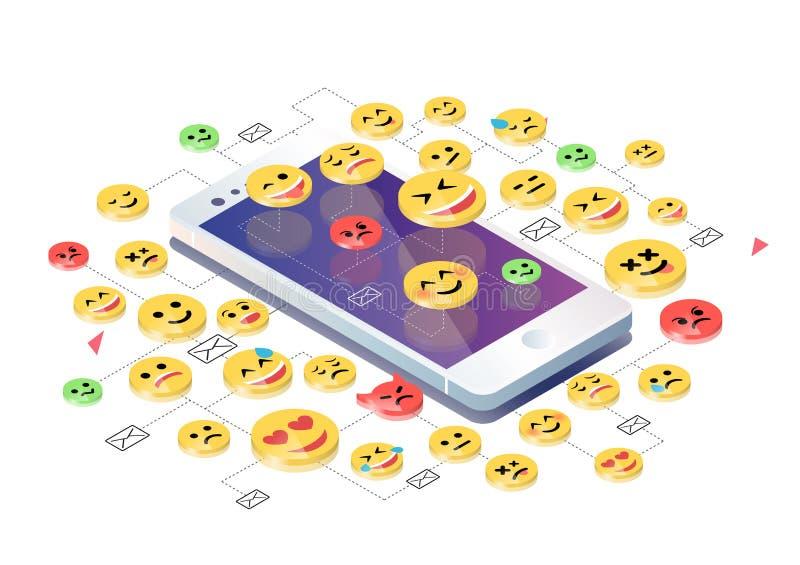 Isometrisches Konzept mit Handy und Emoticons lizenzfreie abbildung