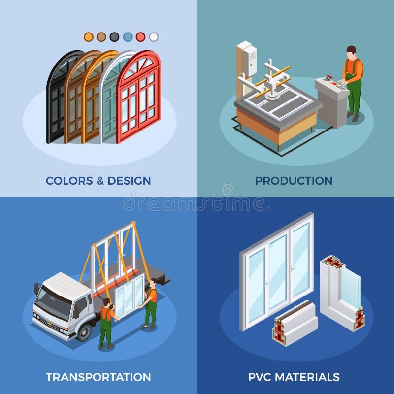 Isometrisches Konzept PVCs Windows lizenzfreie abbildung