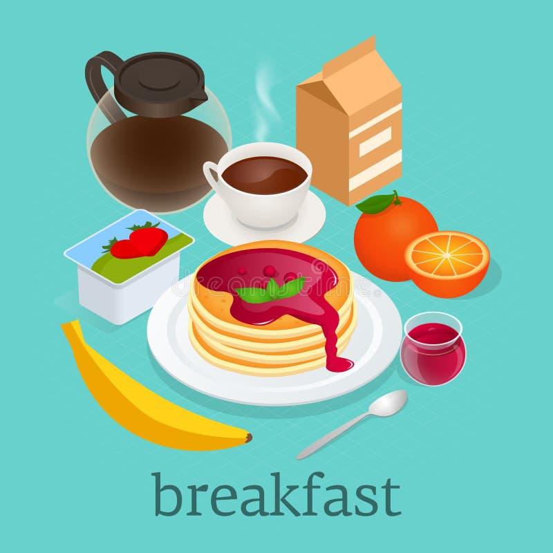 Isometrisches Konzept von den Pfannkuchen überstiegen mit Beerenmarmelade, heißem Tee, Jogurt, Milch und Banane Köstliches und ge lizenzfreie abbildung