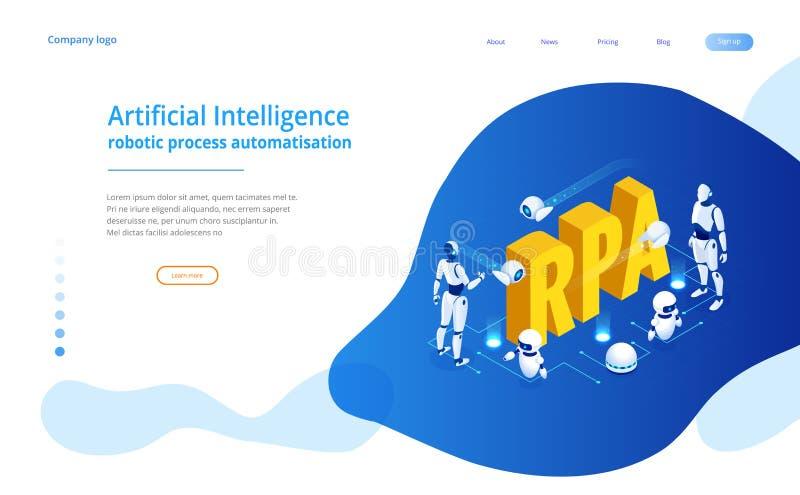 Isometrisches Konzept von RPA, von künstlicher Intelligenz, von Robotikprozeßautomatisierung, von ai im fintech oder von Maschine vektor abbildung
