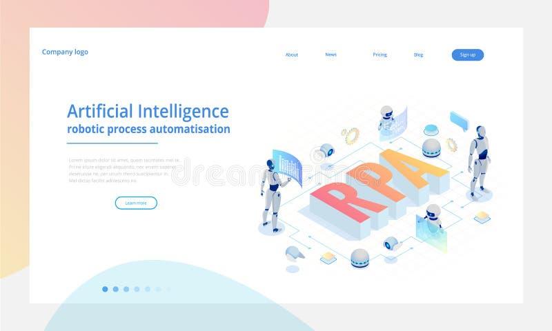 Isometrisches Konzept von RPA, von künstlicher Intelligenz, von Robotikprozeßautomatisierung, von ai im fintech oder von Maschine stock abbildung
