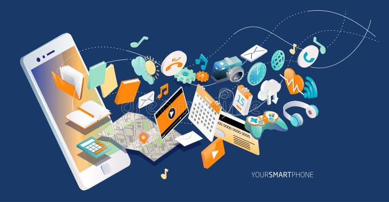 Isometrisches Konzept von Smartphone mit verschiedenen Anwendungen, on-line-Dienstleistungen und stationären Wahlen stock abbildung