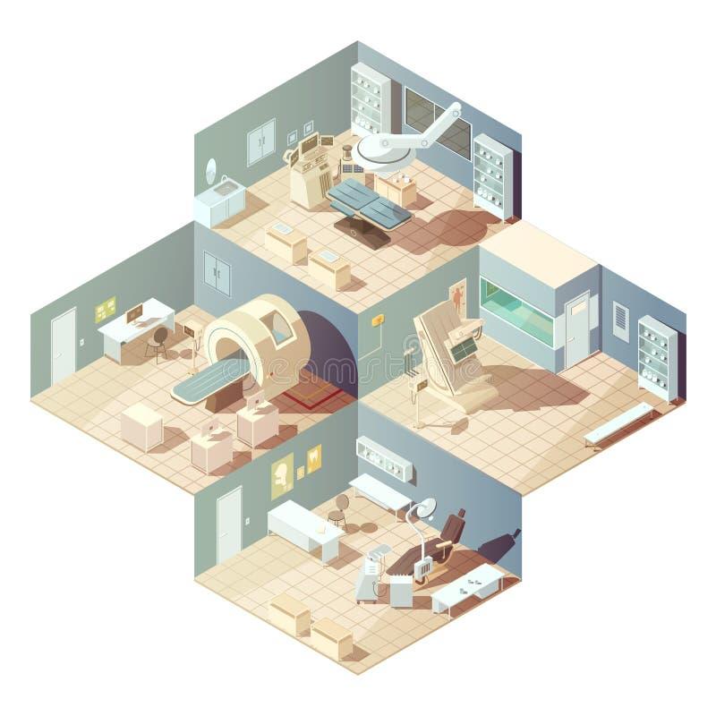 Isometrisches Krankenhaus-Konzept stock abbildung