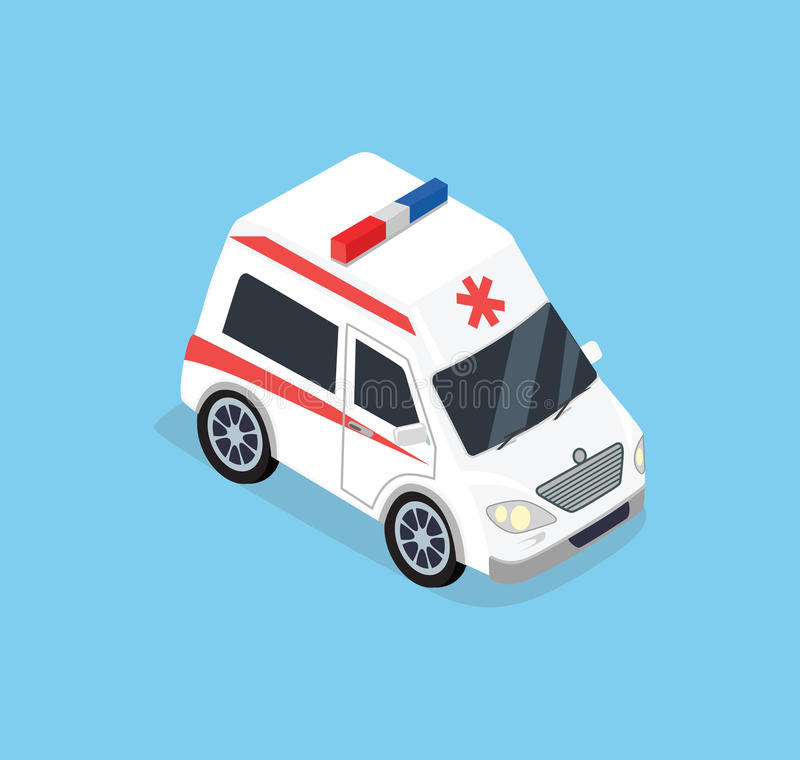 Isometrisches Krankenwagenauto vektor abbildung