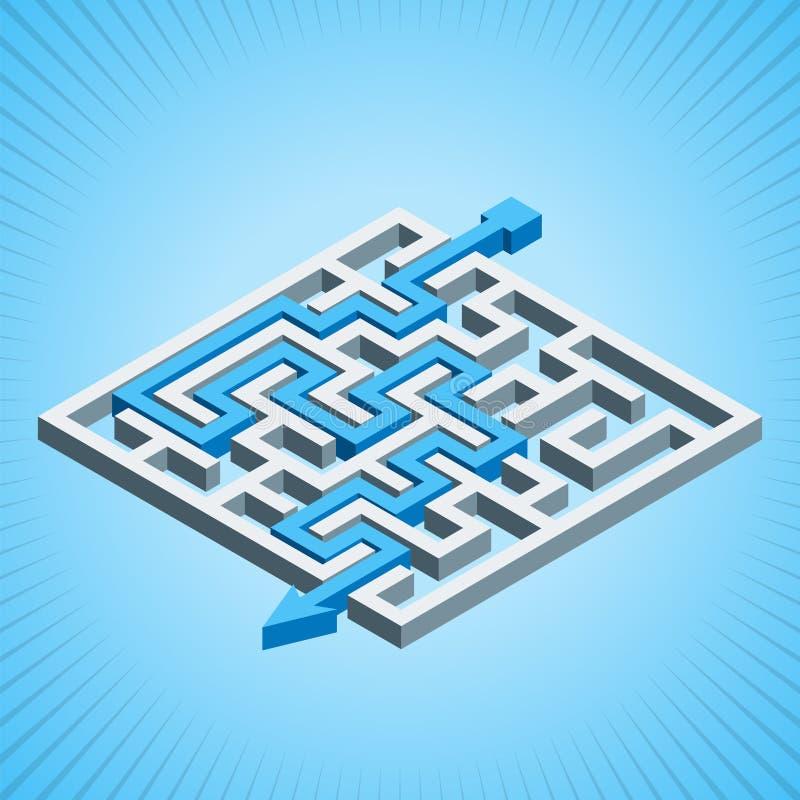 Isometrisches Labyrinth, Labyrinthlösungskonzept auf einem blauen Radialhintergrund lizenzfreie abbildung
