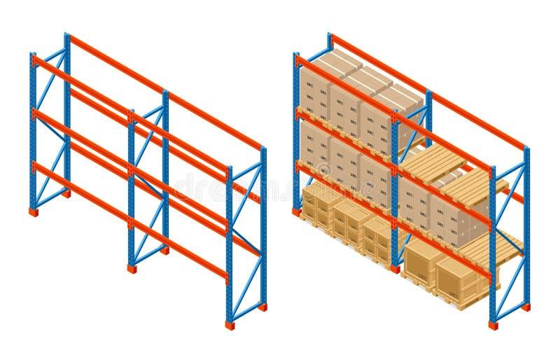 Isometrisches Lager legt mit Kästen und leeren Regalen beiseite Speicherausrüstungsikone Vektor getrennt auf Weiß lizenzfreie abbildung