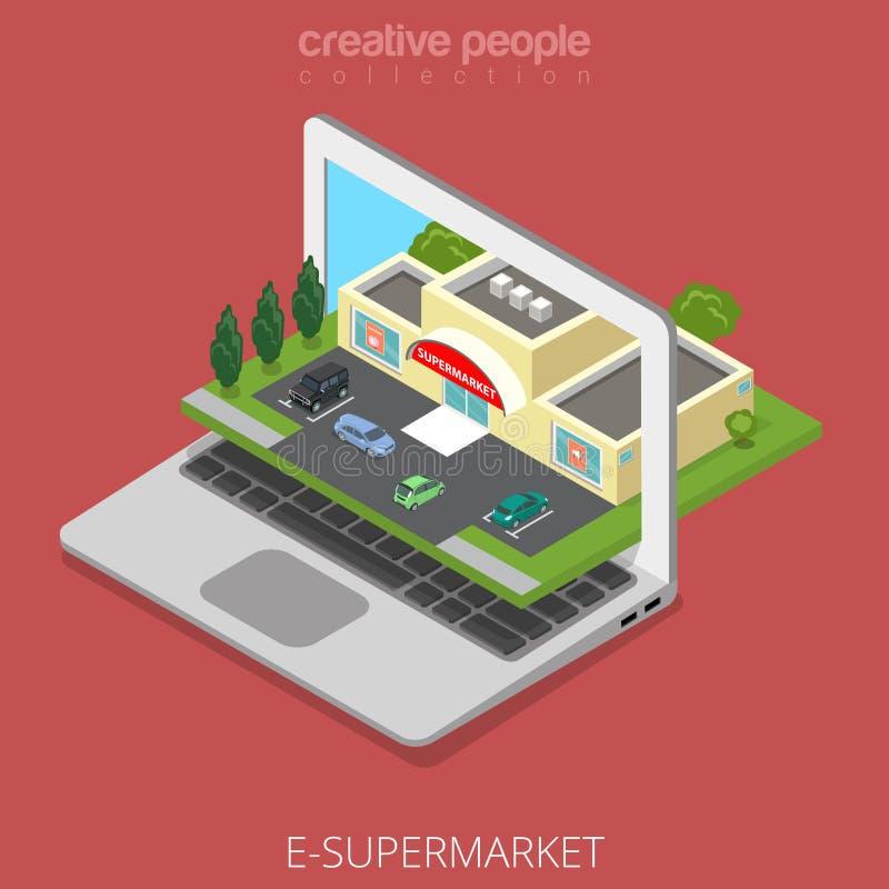 Isometrisches Laptopschirm-Supermarktgeschäft flach lizenzfreie abbildung