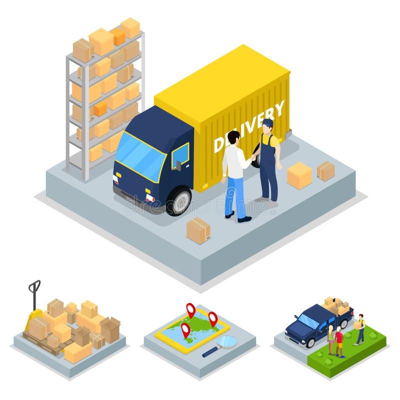 Isometrisches Lieferungs-Konzept mit LKW, Kurier und Fracht-Transport stock abbildung