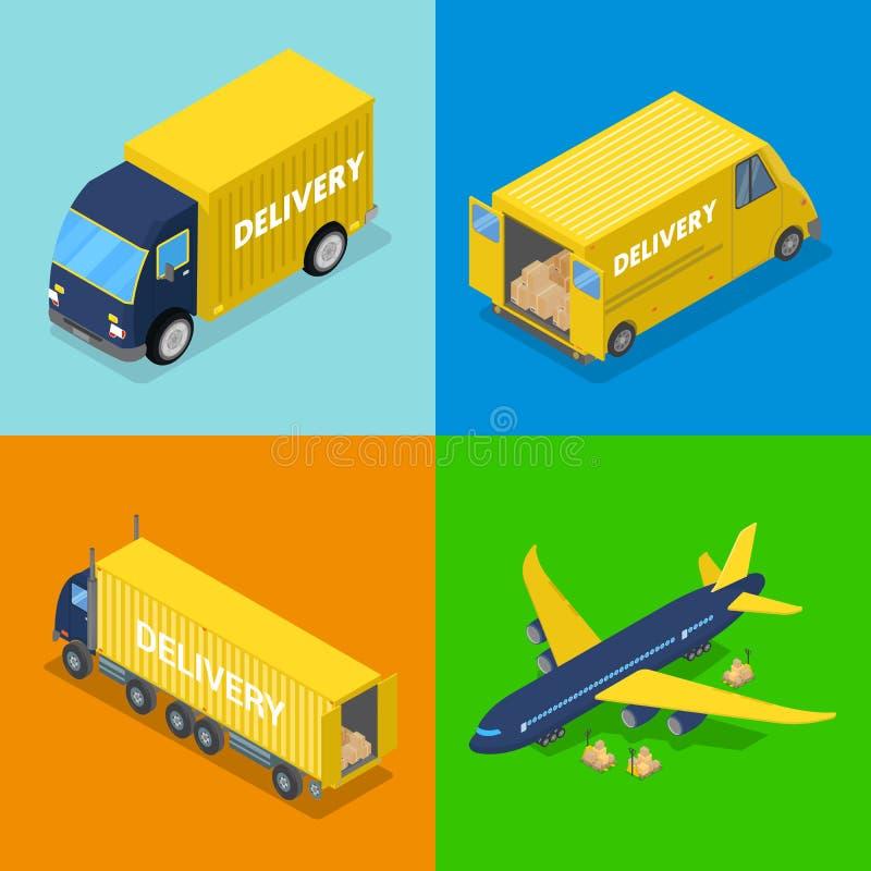Isometrisches Lieferungskonzept Luft-Transportflugzeug-Fracht-Transport, LKW stock abbildung