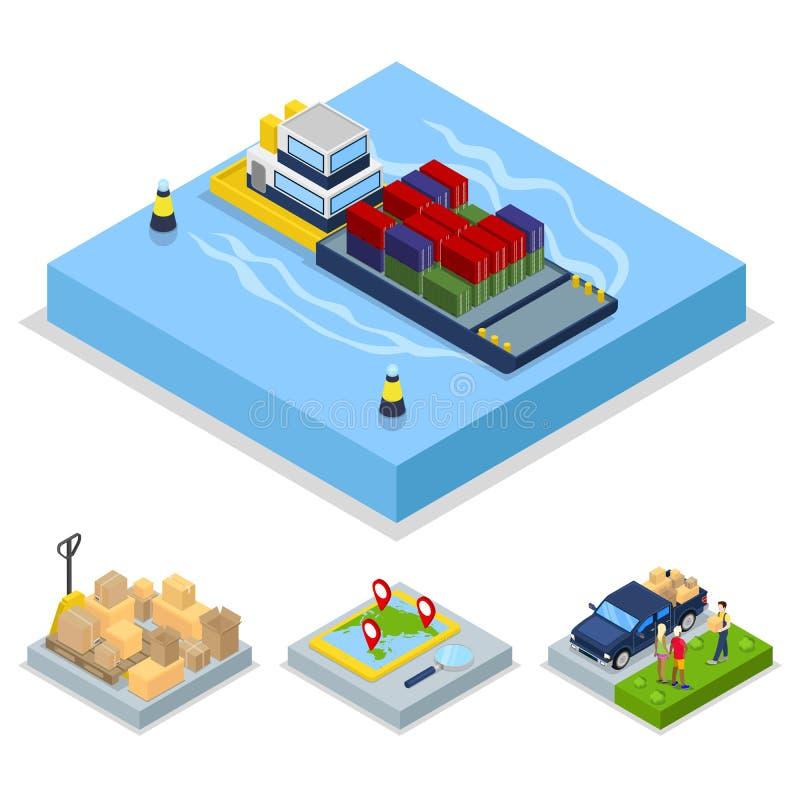 Isometrisches Lieferungskonzept Weltweiter Versand, Fracht-Transport lizenzfreie abbildung