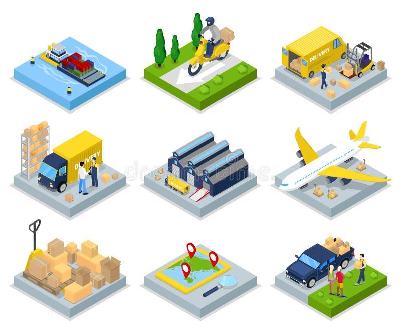 Isometrisches Lieferungskonzept Weltweites Verschiffen Lager, Luftfracht, Fracht-Transport lizenzfreie abbildung