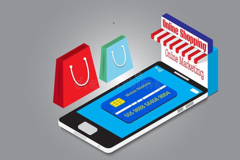Isometrisches on-line-Einkaufen des intelligenten Telefons mit Geschäft der neuen Technologie der Karte lizenzfreie stockfotos