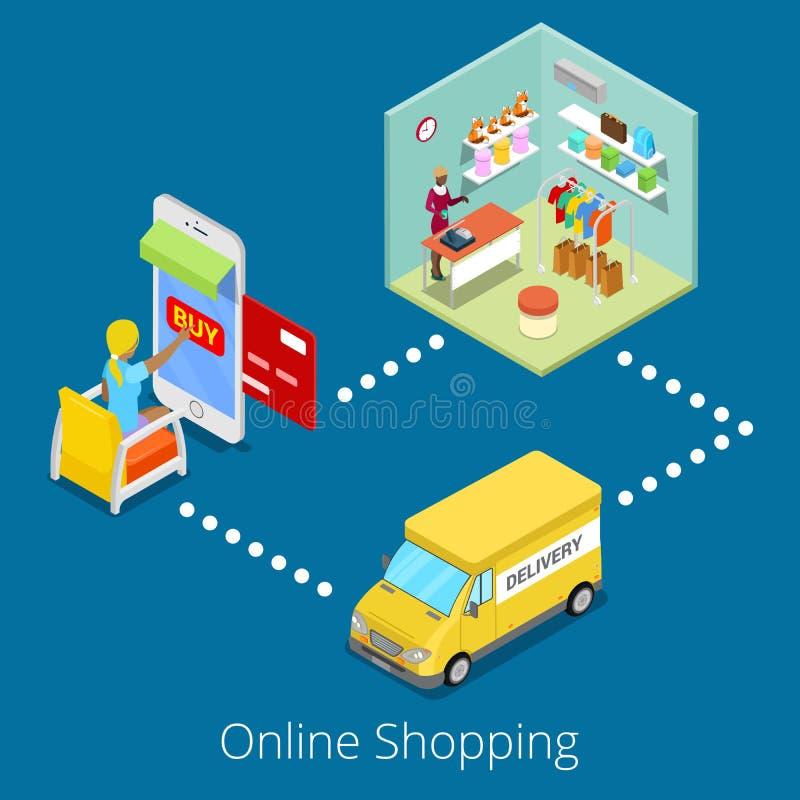 Isometrisches on-line-Einkaufen Kaufende Kleidung der flachen Frauen-3d im Netz-Speicher mit Lieferung lizenzfreie abbildung