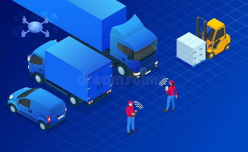 Isometrisches Logistikautomatisierungskonzept Lieferungskonzept mit isometrischen Fahrzeugen für Frachttransport international stock abbildung