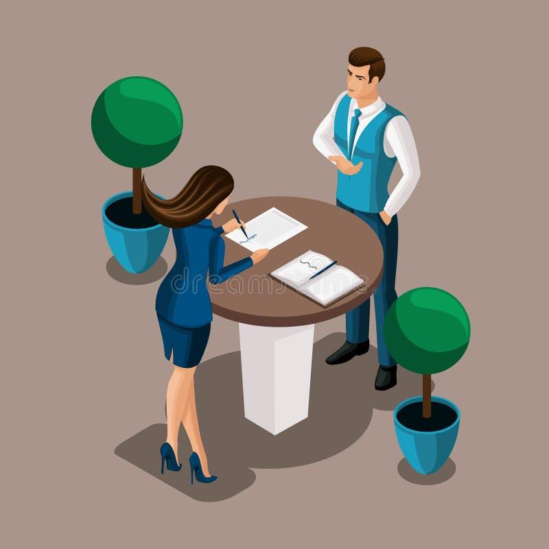 Isometrisches Mädchen, das der Unternehmer den Vertrag im Bank ` s Büro, der Bankangestellte unterzeichnet, schließt den Vertrag  stock abbildung