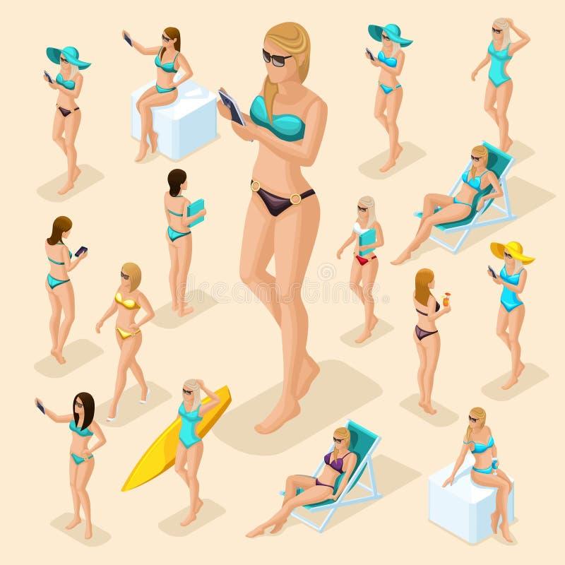 Isometrisches Mädchen der Leute-3d in Badeanzügen setzen auf den Strand vektor abbildung