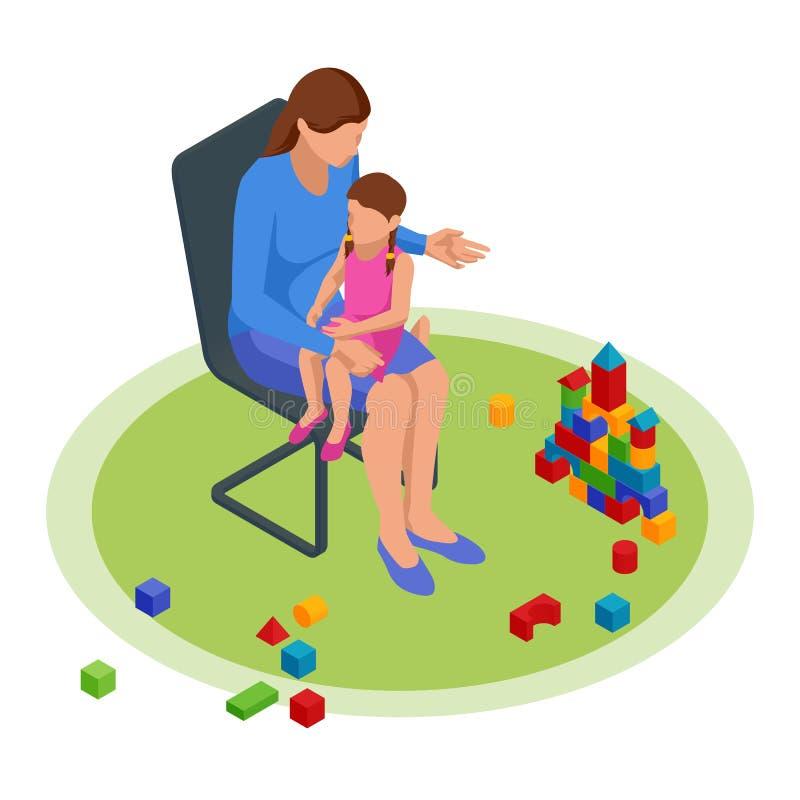 Isometrisches Mama-Konzept erzählt Kindern Geschichten in der Kindergartenschule Glückliches Konzept für Familie und Kindheit stock abbildung