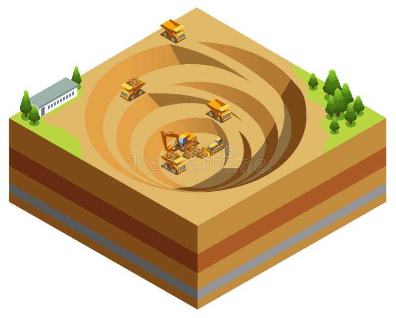 Isometrisches Minenindustrie-Konzept vektor abbildung