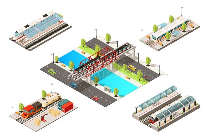 Isometrisches modernes Zug-Konzept stock abbildung