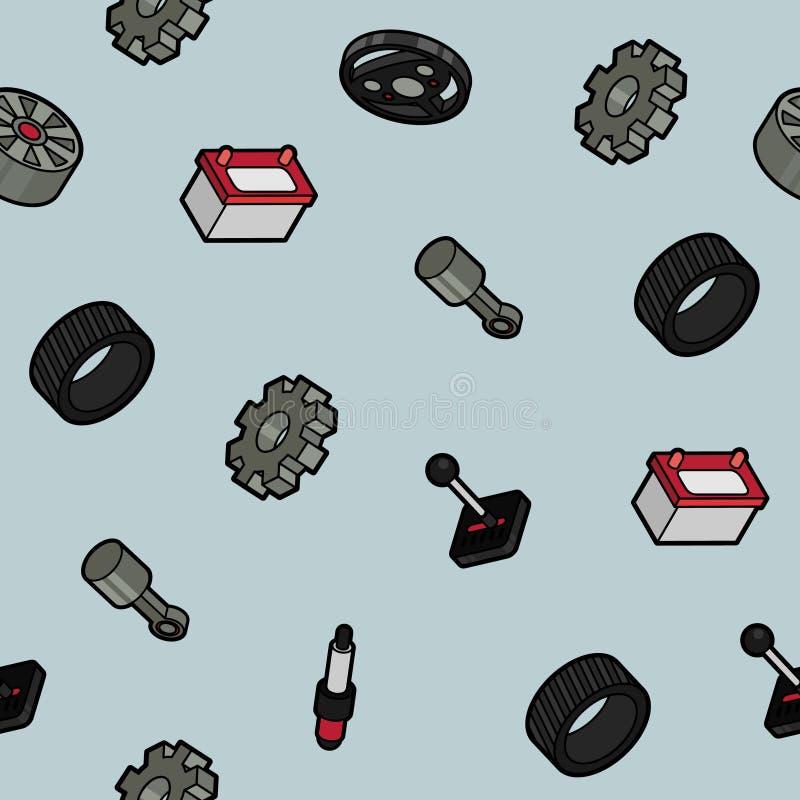 Isometrisches Muster des Autoteilfarbentwurfs lizenzfreie abbildung