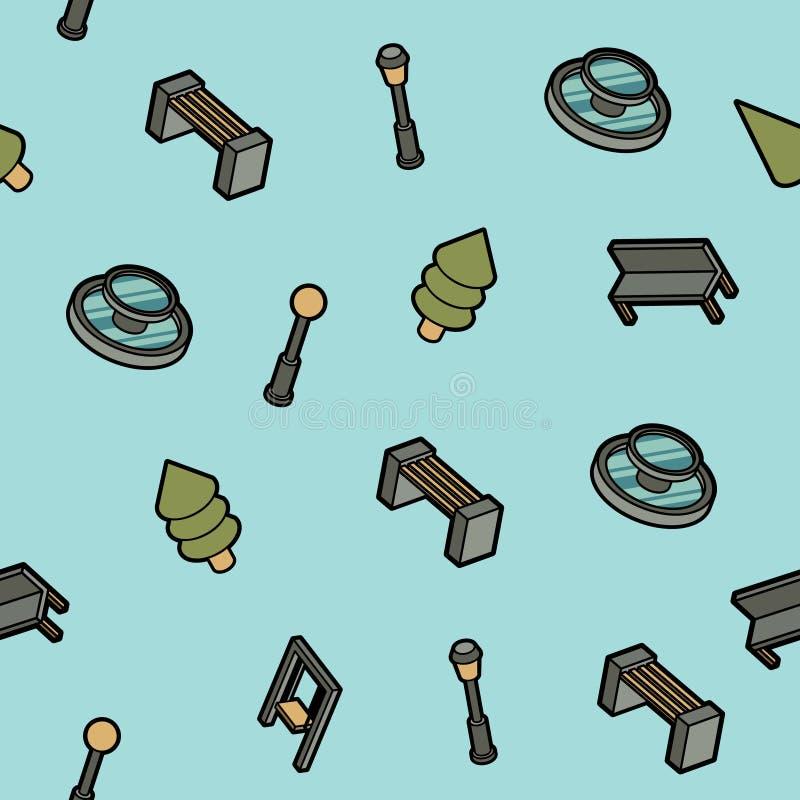 Isometrisches Muster des Parkfarbentwurfs stock abbildung