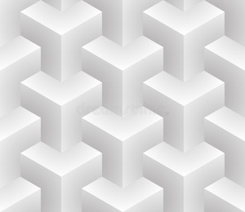 Isometrisches nahtloses Muster Hintergrund der optischen Täuschung 3d lizenzfreie abbildung