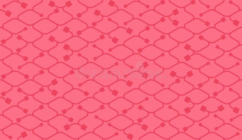 Isometrisches nahtloses Muster Nettozeichnungssummen Hintergrund vektor abbildung