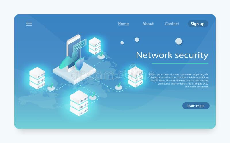Isometrisches Personendatenschutz-Netzfahnenkonzept Große Datenverarbeitung des Konzeptes, Energiestation von Zukunft vektor abbildung