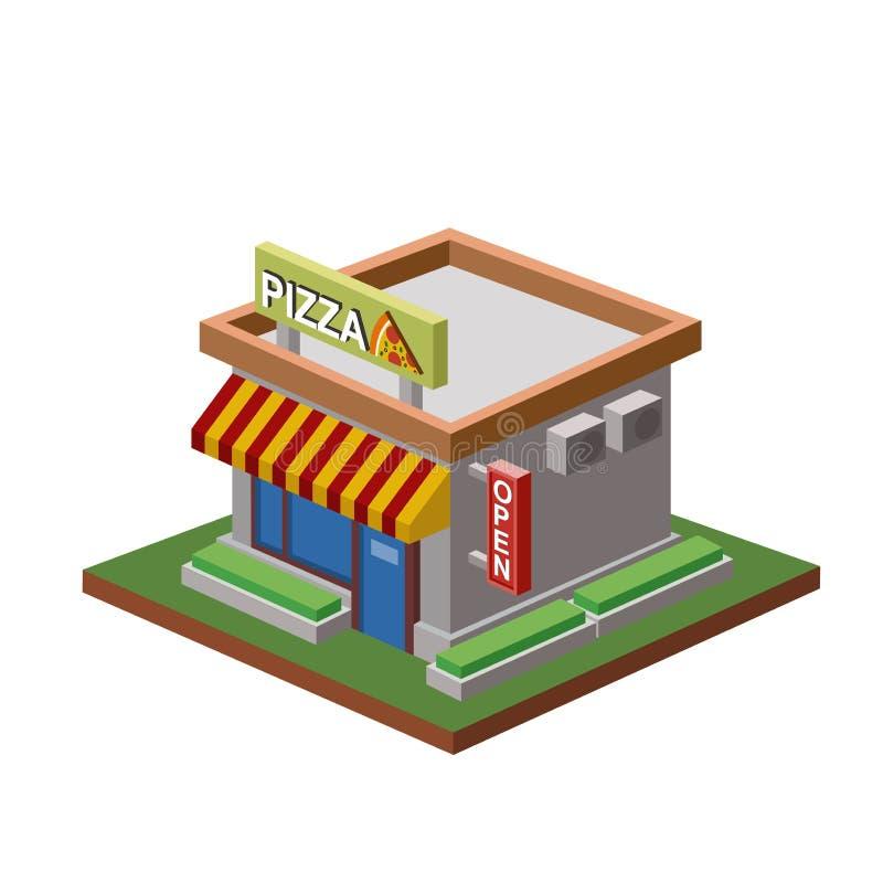 Isometrisches Pizzeriagebäude des Vektors vektor abbildung