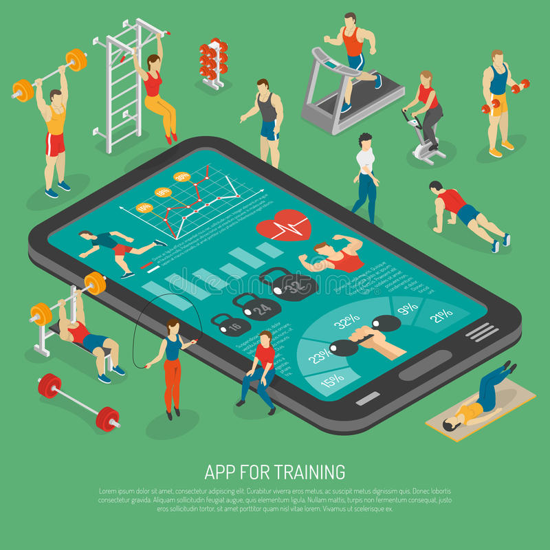 Isometrisches Plakat Eignungs-Smartphone-Zubehör Apps vektor abbildung