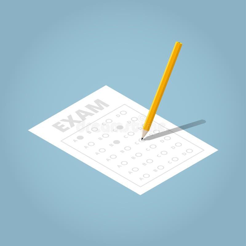 Isometrisches Prüfungs-Blatt Illustation stock abbildung
