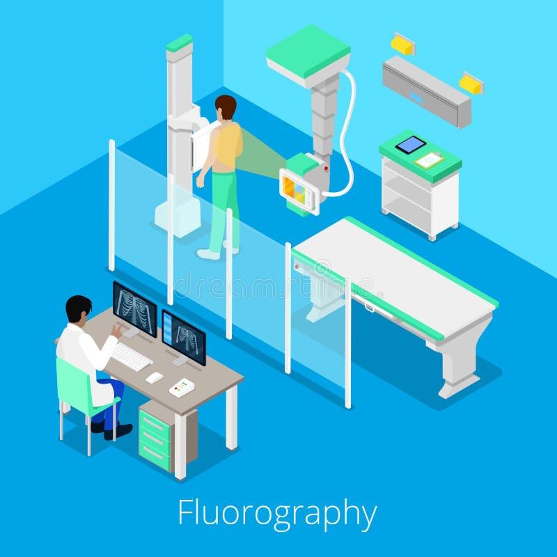 Isometrisches Radiologie Fluorography-Verfahren mit medizinischer Ausrüstung und Patienten vektor abbildung