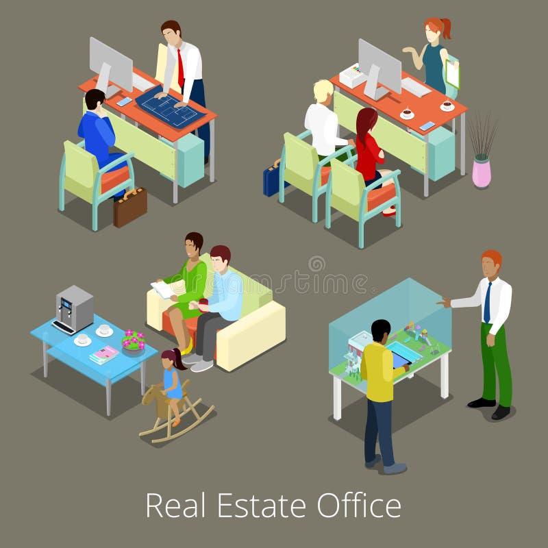 Isometrisches Real Estate-Büro Flacher Innenraum 3d mit Managern und Kunden lizenzfreie abbildung