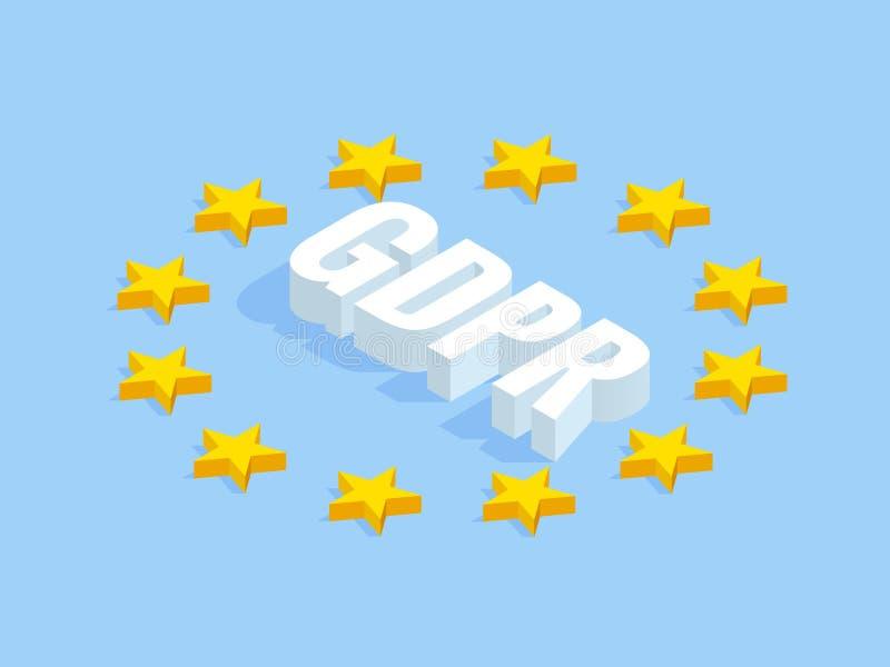 Isometrisches Sicherheitsgeschäft Vorgeschriebenes GDPR Konzept des allgemeine Daten-Schutzes Idee des Datenschutzes On-line-Sich vektor abbildung