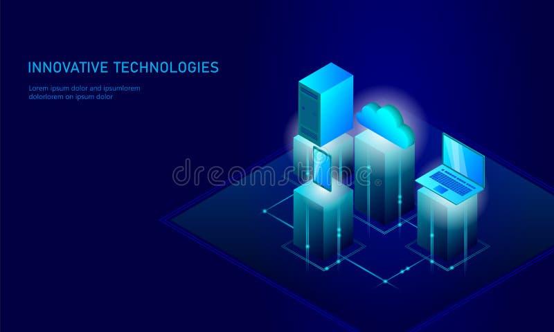 Isometrisches Sicherheitswolkenspeicher-Geschäftskonzept Datenverbindungs-PC der persönlichen Information des Blaus glühender iso lizenzfreie abbildung